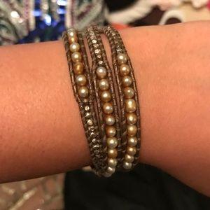 Brown pearl beaded chan luu wrap bracelet